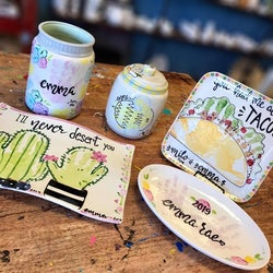 Painted pottery pieces as an example of a take home kit