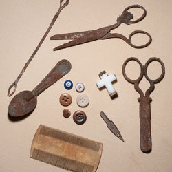 Various artifacts found at Windsor Castle scissors cross beads box