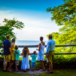 Family at scenic overlook along the James River at Historic Fort Boykin