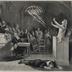 Engraving style image of witch trial