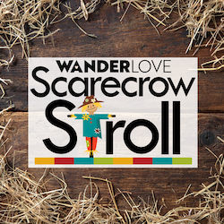 Logo with straw and scarecrow for the WanderLOVE Scarecrow Stroll