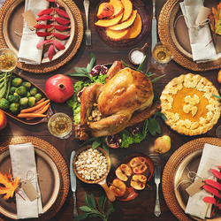 overhead image of food on Thanksgiving table