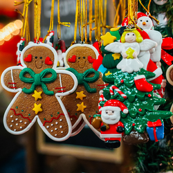 Gingerbread man ornaments on tree