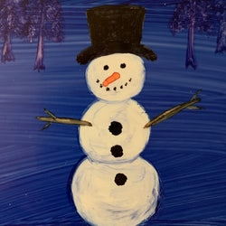 Painting of a snowman with snowflakes and trees in the background