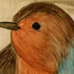 Painting of Robin sitting on a branch