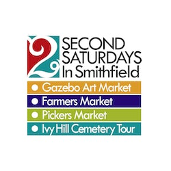 Logo for Second Saturdays in Downtown Smithfield including the names of the featured events Gazebo Art Market Farmers Market Pickers Market and Ivy Hill Cemetery Tour