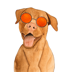 Painting of dog with sunglasses on