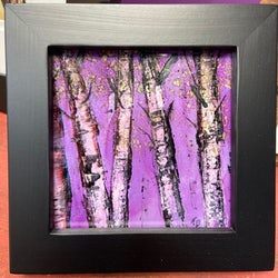 Painting of purple trees framed in black
