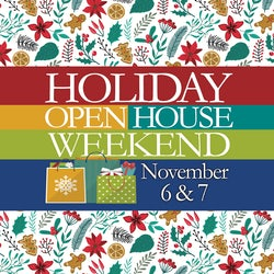 logo with shopping bags full of gifts for the Holiday Open House Weekend