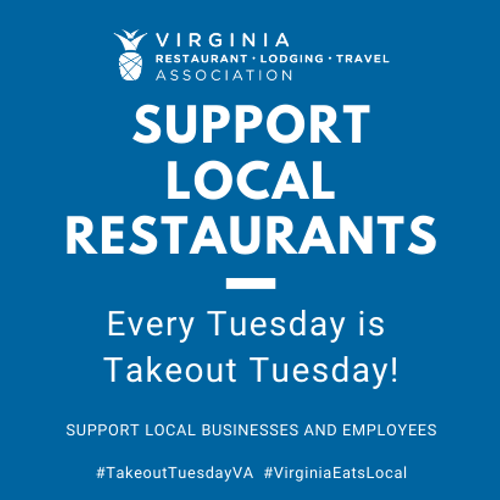 Images of Food and the text Takeout Tuesday Every Tuesday is Takeout Tuesday Support local businesses and employees