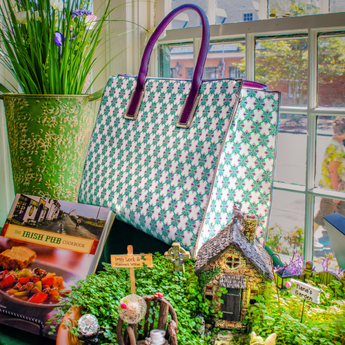Shop window with purse cookbook and fairy garden