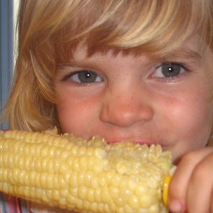 Little girl eating an ear of corn
