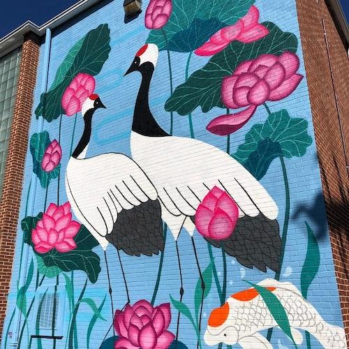 The Lovers Mural by Julia Chon at the Waynesboro Family YMCA